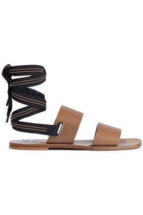BRUNELLO CUCINELLI Bead-embellished grosgrain-trimmed leather sandals
