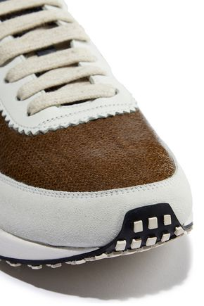 BRUNELLO CUCINELLI Bead-embellished leather and suede-trimmed coated canvas sneakers