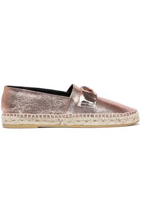 ROBERT CLERGERIE Etoile embellished metallic cracked-leather espadrilles