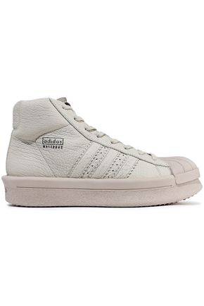 RICK OWENS x ADIDAS Rubber-paneled textured-leather platform sneakers