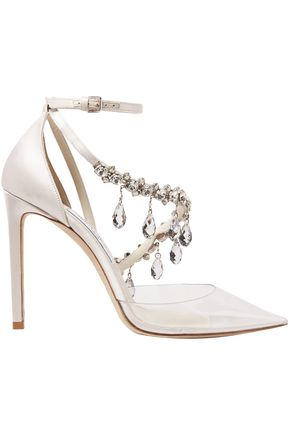 OFF-WHITE™ C/O JIMMY CHOO Victoria 100 crystal-embellished PVC and satin pumps
