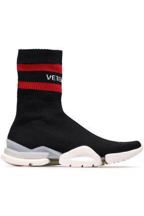 REEBOK x VETEMENTS Ribbed striped stretch-knit slip-on sneakers