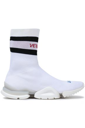 REEBOK x VETEMENTS Ribbed striped stretch-knit slip-on sneakers