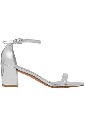 STUART WEITZMAN Mirrored metallic leather sandals