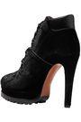 ALAÏA Lace-up leather-trimmed velvet ankle boots