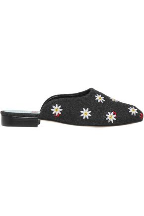 MR by MAN REPELLER Crystal-embellished embroidered wool-blend slippers