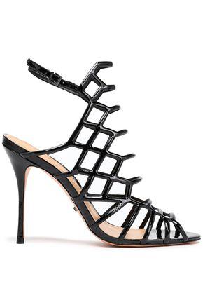 SCHUTZ Cutout patent-leather sandals