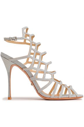 SCHUTZ Cutout glittered leather sandals