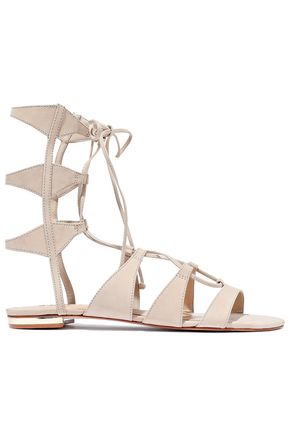 SCHUTZ Erlina cutout lace-up suede sandals