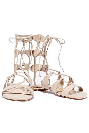 SCHUTZ Erlina cutout lace-up suede sandals