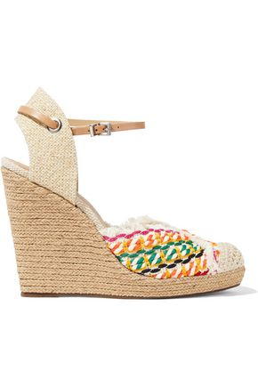 SCHUTZ Dorian embellished canvas wedge espadrilles