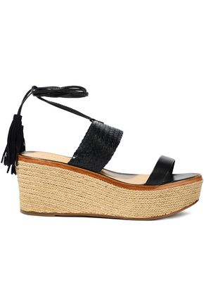SCHUTZ Wilson woven leather wedge espadrille sandals