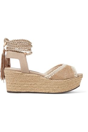 SCHUTZ Pamela canvas and raffia platform espadrille sandals