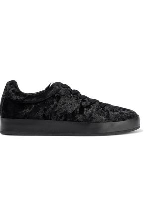 RAG & BONE Leather-trimmed crushed-velvet sneakers