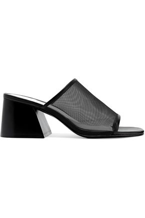 RAG & BONE Emmy leather-trimmed mesh mules
