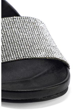 SCHUTZ Crystal-embellished suede and leather slides