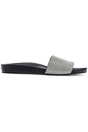 SCHUTZ Crystal-embellished suede and leather slides