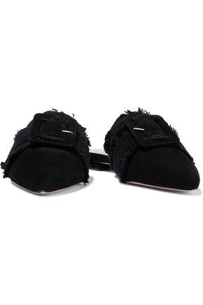 SCHUTZ Mileni fringe-trimmed buckled nubuck slippers
