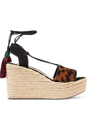 SCHUTZ Lila leopard-print calf hair wedge espadrille sandals