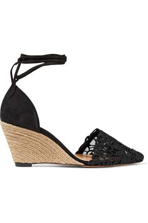 SCHUTZ Lace-appliquéd mesh and nubuck wedge espadrilles