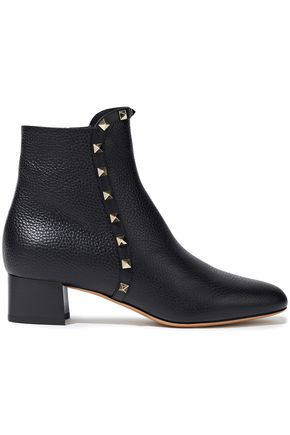 VALENTINO GARAVANI Studded textured-leather ankle boots