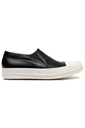RICK OWENS Rubber-paneled leather slip-on sneakers
