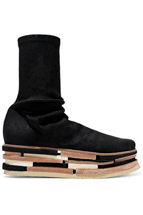 RICK OWENS Lego Sock stretch-suede platform ankle boots