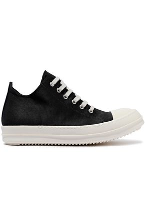 DRKSHDW by RICK OWENS Low Ramones leather-trimmed coated-canvas sneakers
