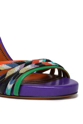 MISSONI Leather and crochet-knit sandals