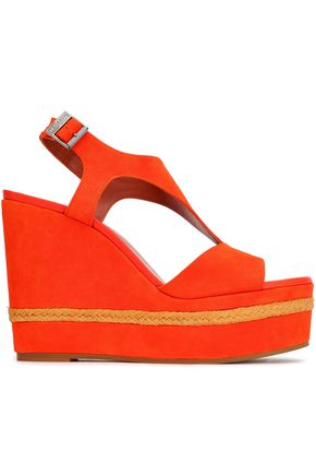 MISSONI Jute-trimmed suede wedge slingback sandals