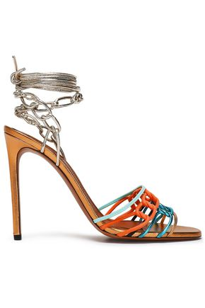 MISSONI Braided metallic leather and suede sandals