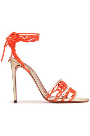 MISSONI Lace-up braided suede and metallic leather sandals