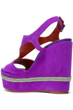 MISSONI Jute-trimmed suede wedge slingback sandals