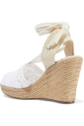 SCHUTZ Lace-up crocheted wedge espadrille sandals