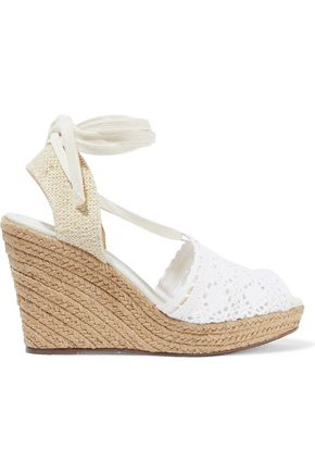 SCHUTZ Lace-up crocheted wedge espadrilles