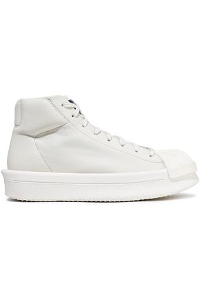 RICK OWENS x ADIDAS Rubber-paneled leather sneakers