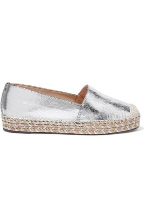 SCHUTZ Clair cracked mirrored-leather espadrilles