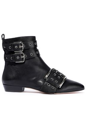 RED(V) Buckled eyelet-embellished leather ankle boots