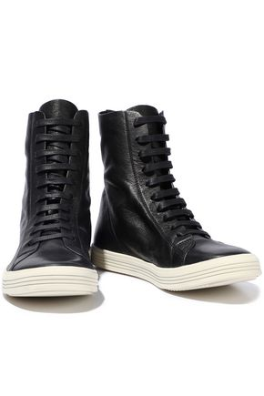 RICK OWENS Mastodon textured-leather high-top sneakers