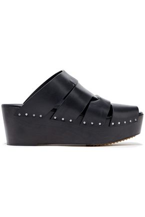 RICK OWENS Leather platform wedge sandals