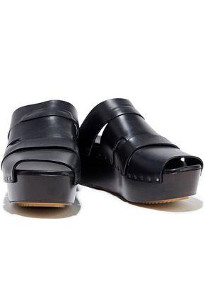 RICK OWENS Leather platform wedge sandals
