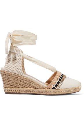 SCHUTZ Embellished canvas wedge espadrilles