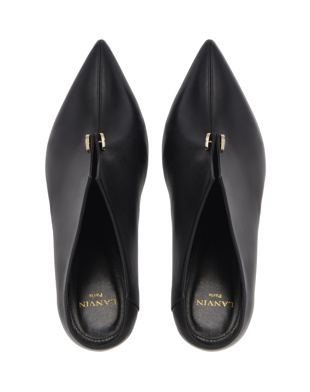 BLACK PIERCING HIGH-HEELED MULE - Lanvin