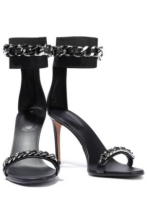 BALMAIN Chain-trimmed stretch-knit and leather sandals