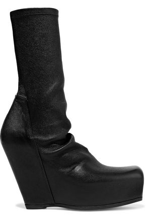 RICK OWENS Stretch-leather platform sock boots