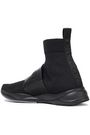 BALMAIN Embossed leather-trimmed stretch-knit high-top sneakers
