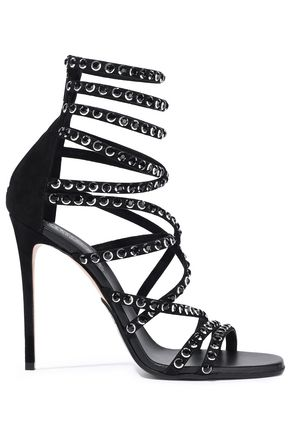BALMAIN Crystal-embellished suede sandals