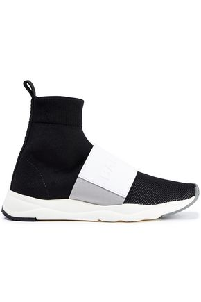 BALMAIN Embossed leather-trimmed color-block stretch-knit sneakers