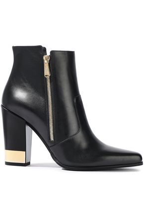 BALMAIN Metallic-trimmed leather ankle boots