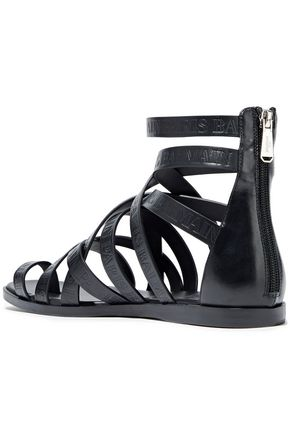 BALMAIN Logo-embossed leather sandals